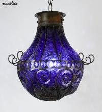 Hand Blown Crackled Glass Wrought Iron Mexican Pendant ...