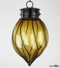 Hand Blown Clear Glass Wrought Iron Mexican Pendant Light ...
