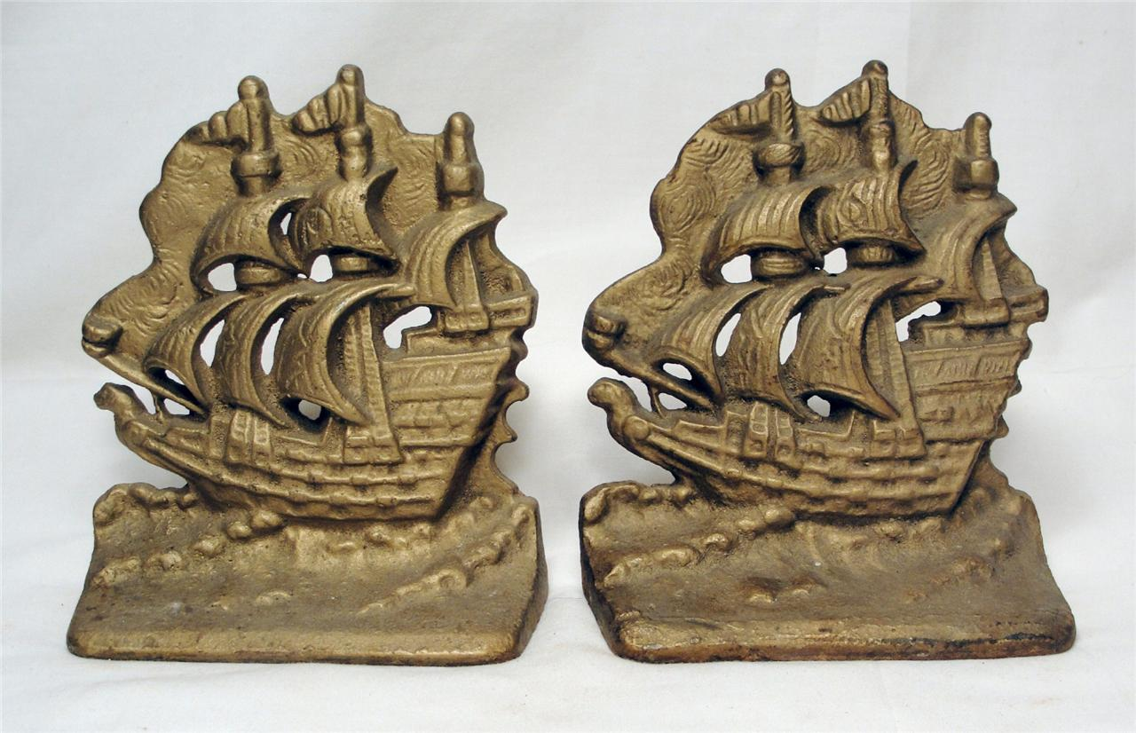 Nautical Doorstop Ship Schooner Sailboat Nautical Maritime Cast Iron Book
