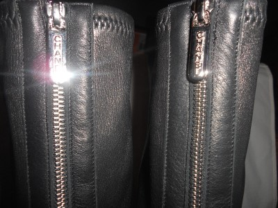 Chanel 12a Black Stretch Leather Knee High Tall Back Zip