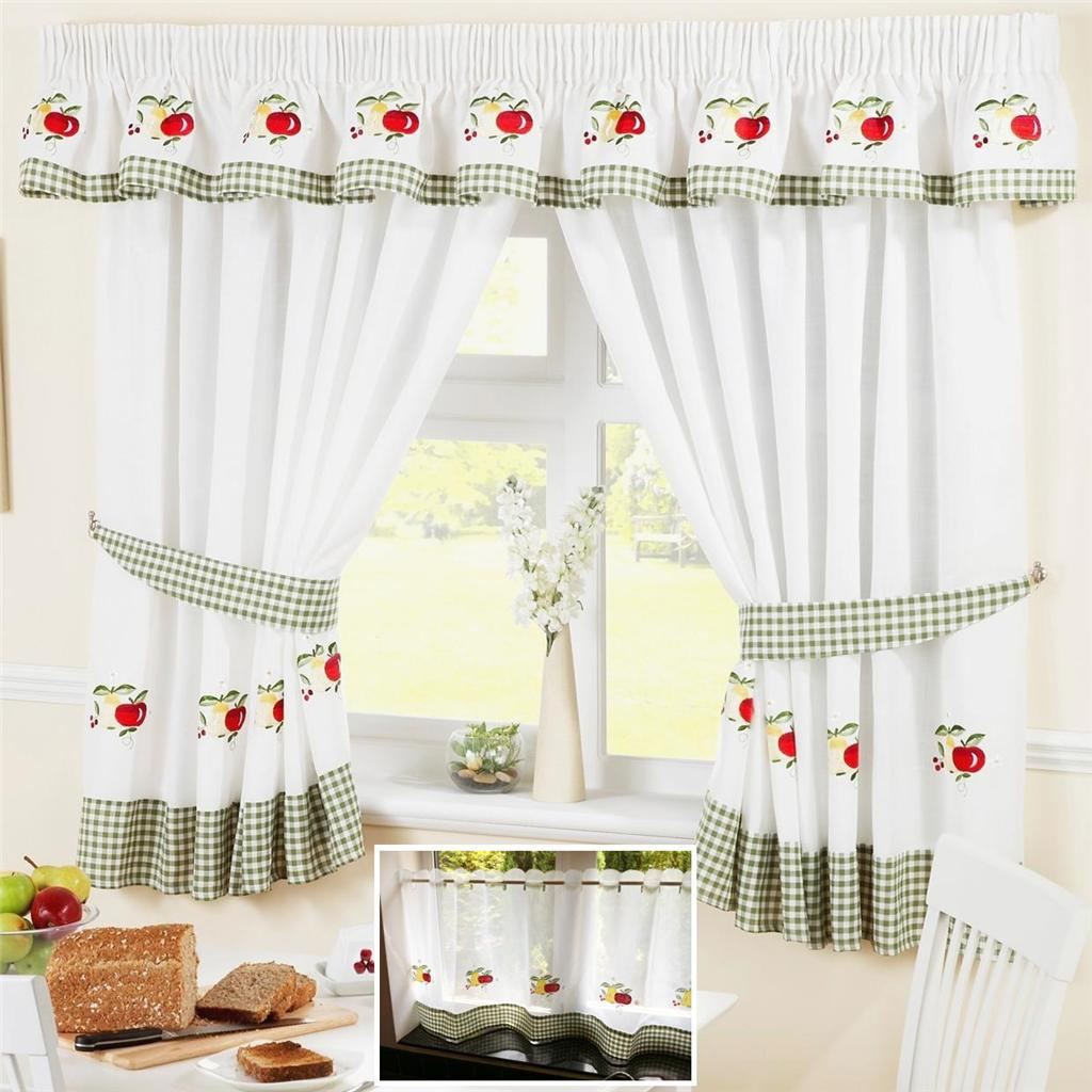 Green Cuisine Cafe Fruit Colourful Green Voile Cafe Net Curtain Panel Kitchen
