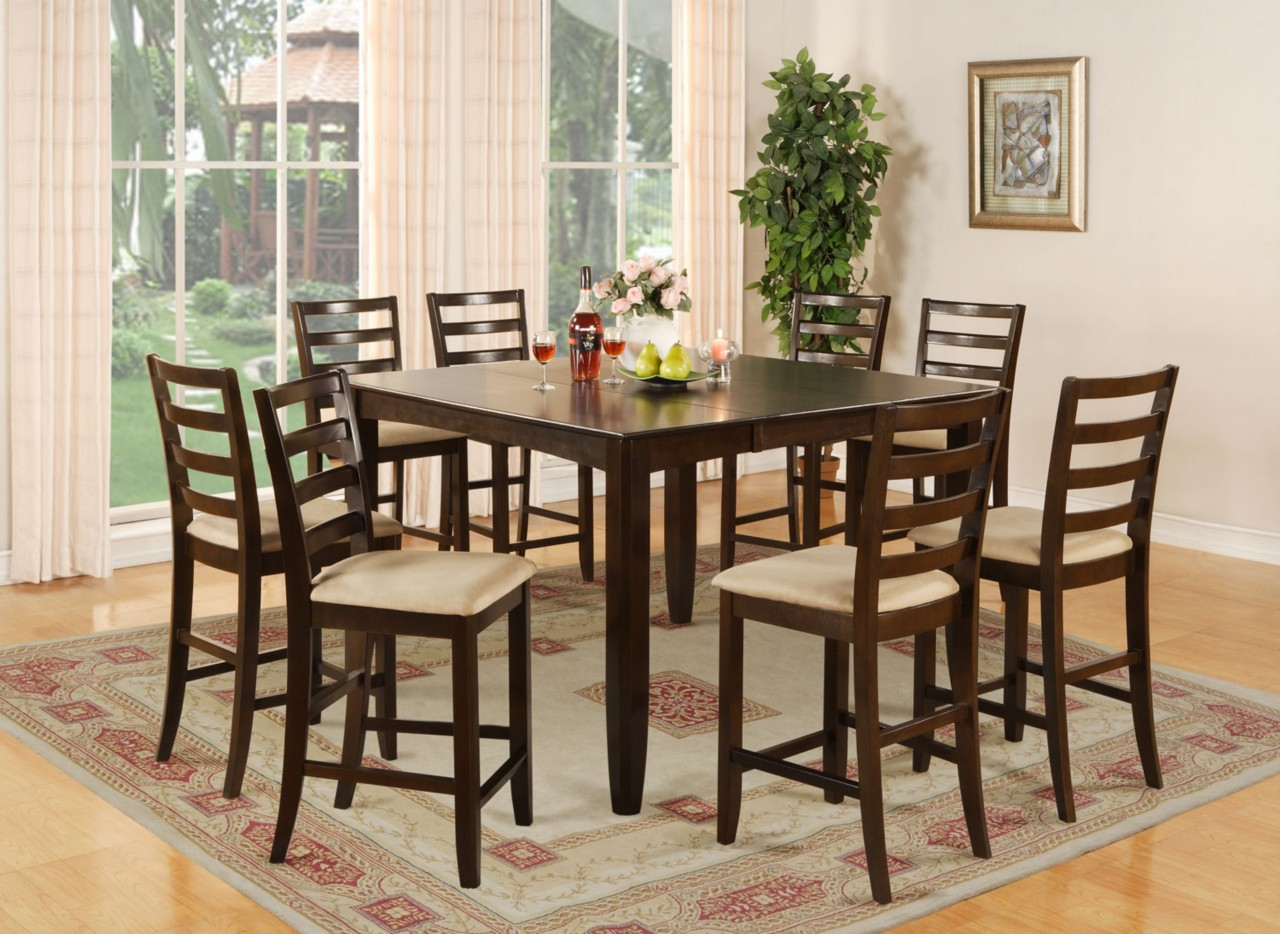 Square Dining Room Tables That Seat 8 9 Pc Square Counter Height Dining Room Table 8 Chairs