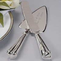 Silver Heart Wedding Cake Server Serving Set Engraved