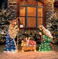 3 PC SET Outdoor Lighted HOLY FAMILY NATIVITY SCENE ...