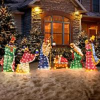 6 pc SET Outdoor Lighted HOLY FAMILY WISEMEN NATIVITY ...