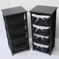 4 BLACK BASKET DRAW BATHROOM STORAGE UNIT FLOOR CABINET   eBay