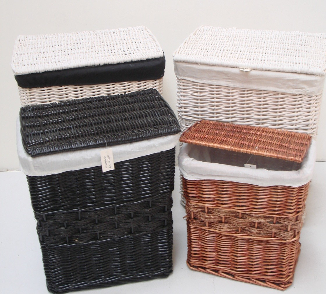 Brown White Black Wicker Laundry Basket Hamper Bin Bedroom