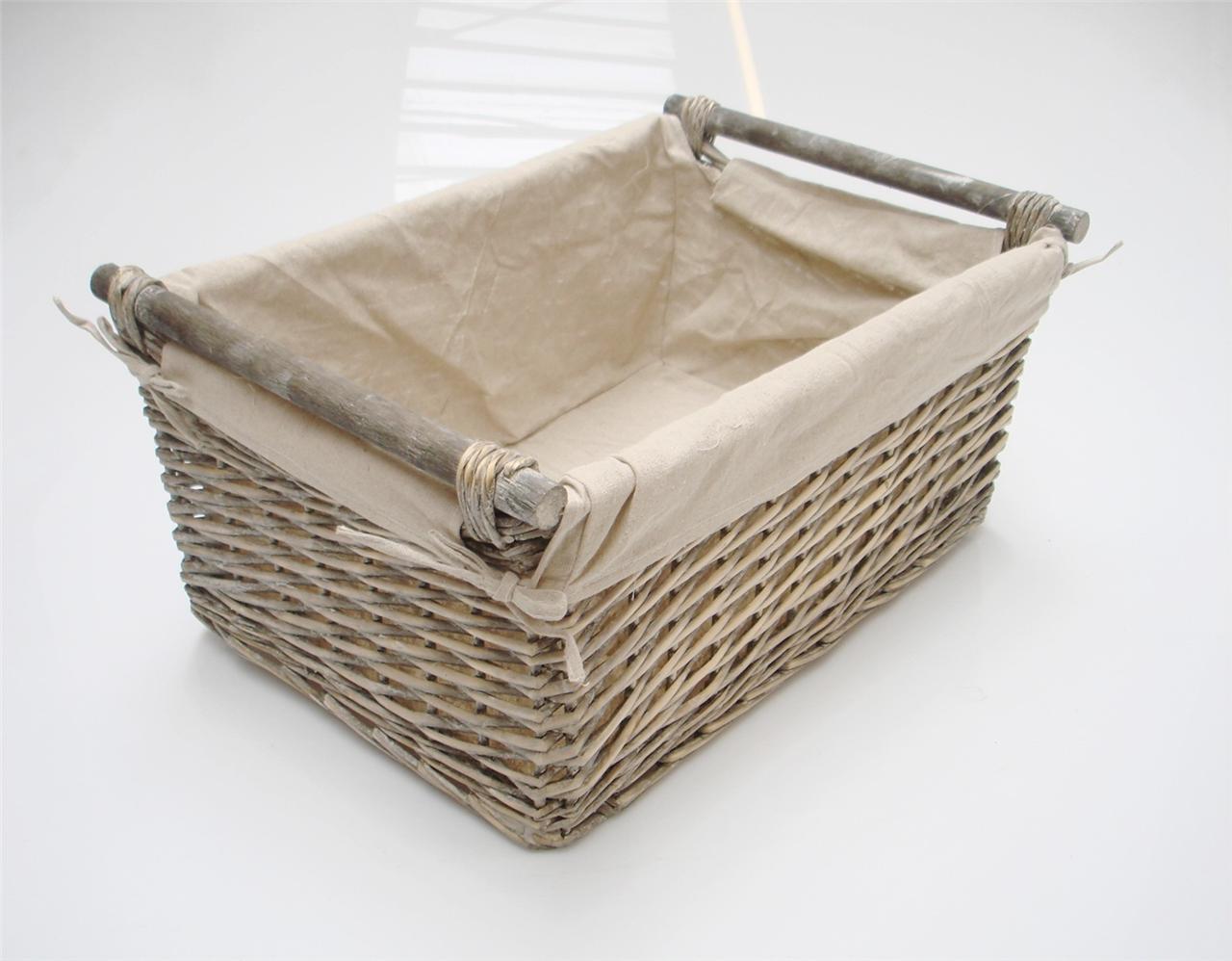 Brown Grey 2 Tone Full Wicker Round Laundry Basket Deep