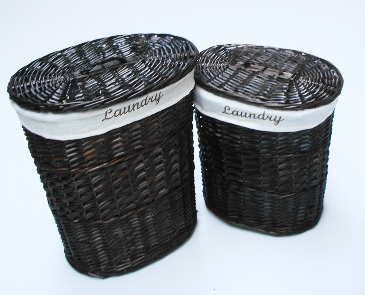 Black Wicker Hamper Brown White Black Oval Wicker Laundry Basket With Lid