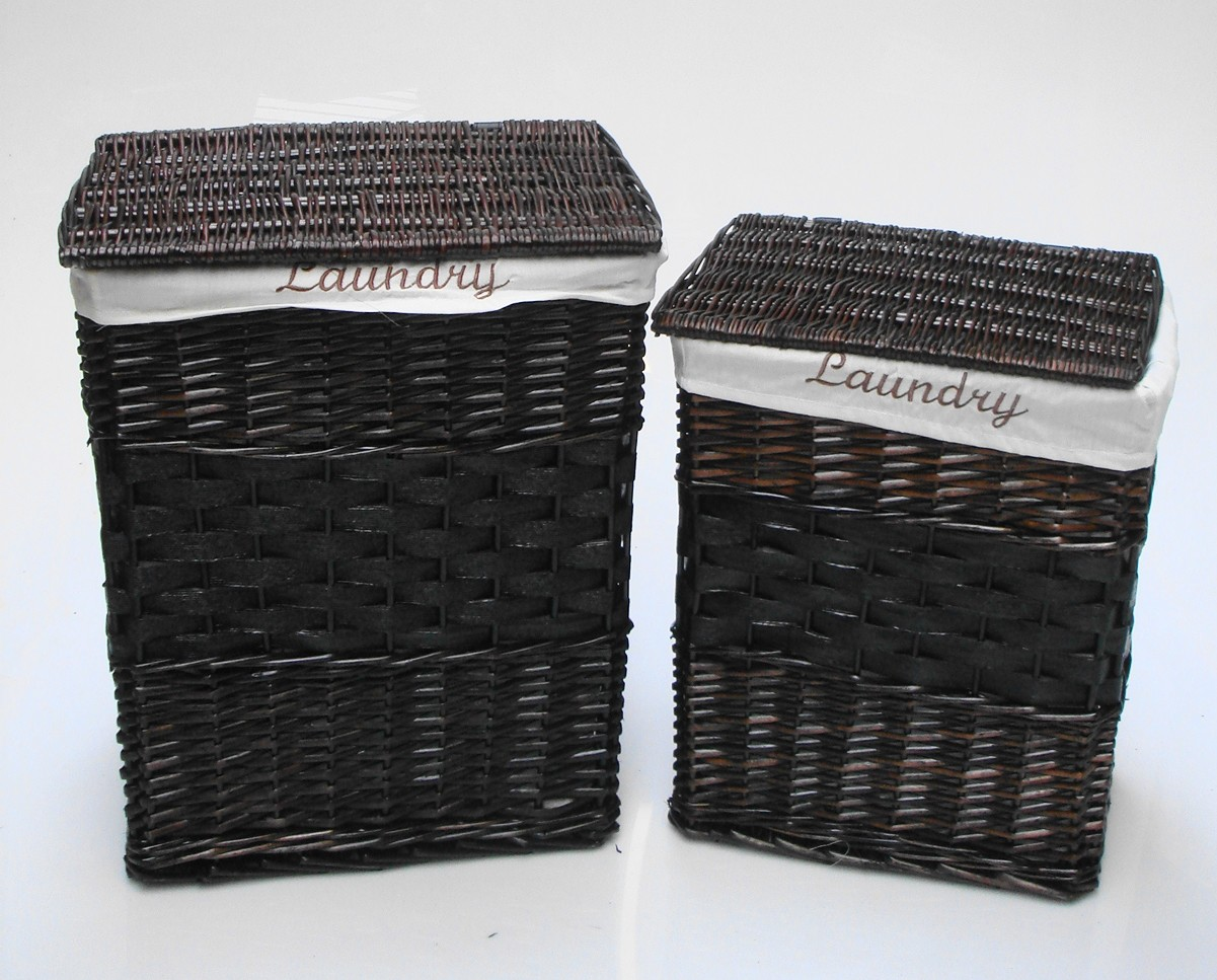 Black Wicker Hamper White Black Brown Wicker Rectangle Laundry Basket Bin