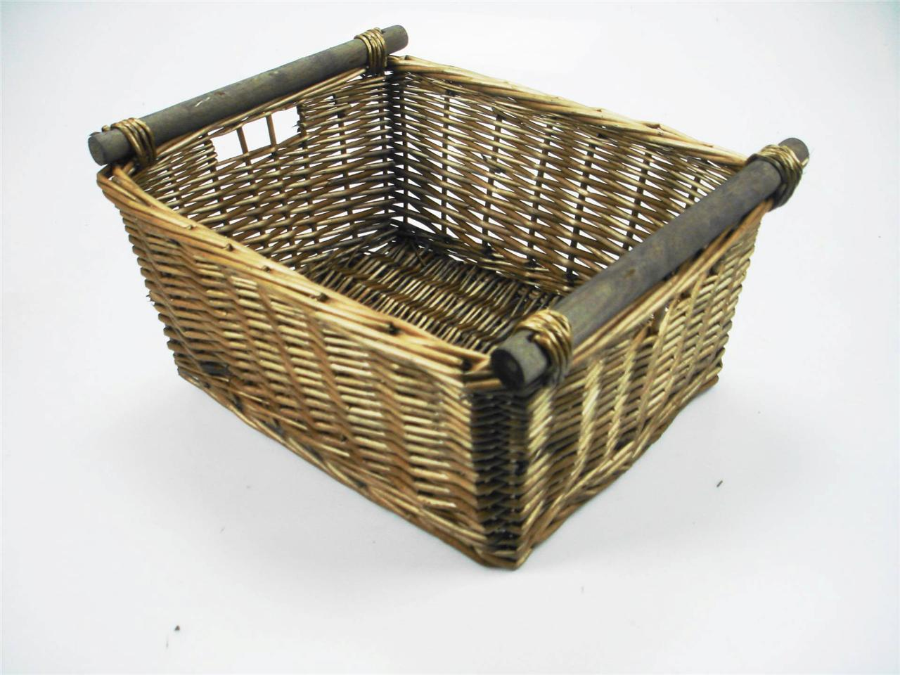 Black Wicker Hamper Kitchen Log Wicker Storage Basket With Handles Xmas Empty