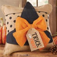 "Mud Pie Halloween Witch Hat Burlap 15"" Square Throw Pillow"