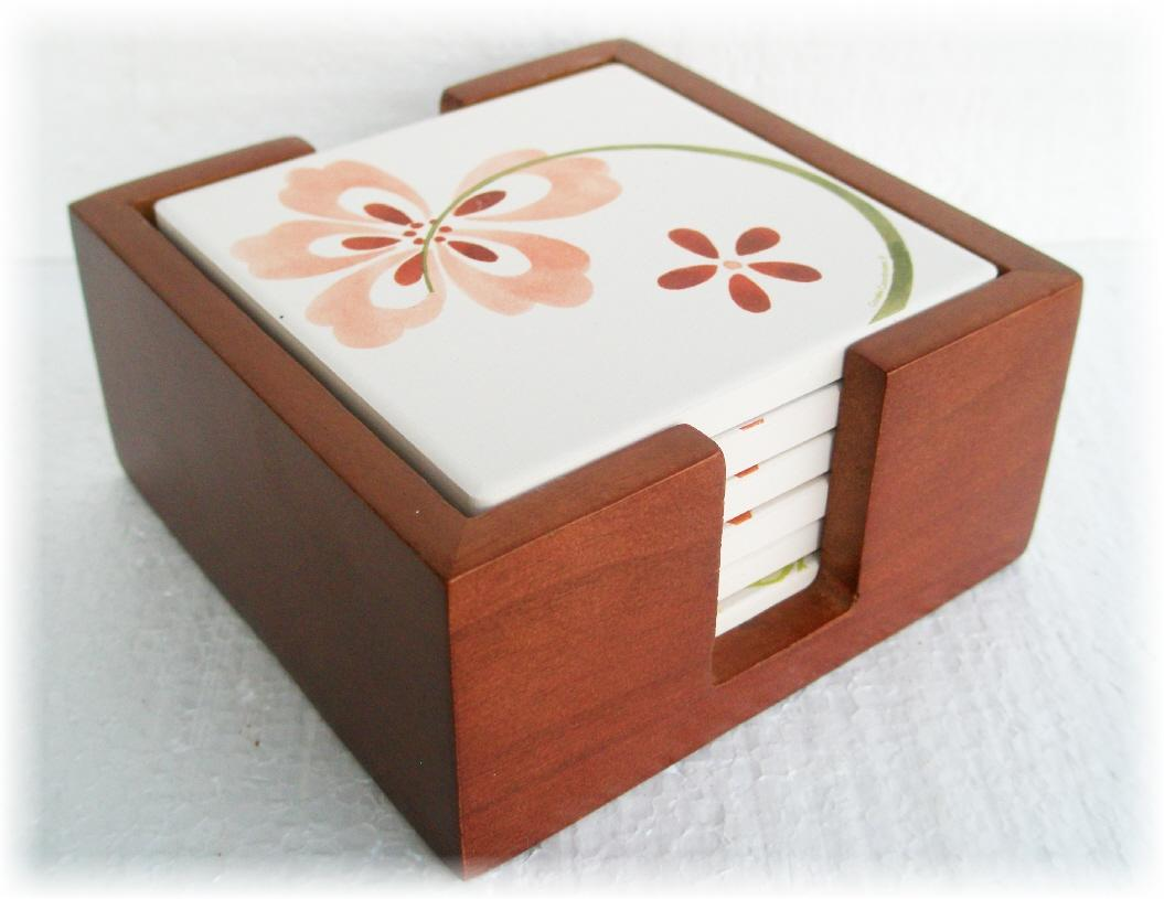 Square Coasters For Drinks 6 Corelle Square Stoneware Drink Coaster Set Mahogany Wood
