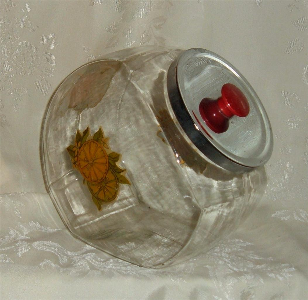 Huge Glass Cookie Jar Vintage Large Clear Glass Cookie Jar Canister Metal Lid Ebay