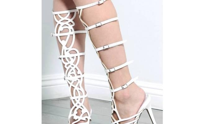 Breckelle's Diva 36 Strappy Knee High Shaft Stiletto Heel Gladiator