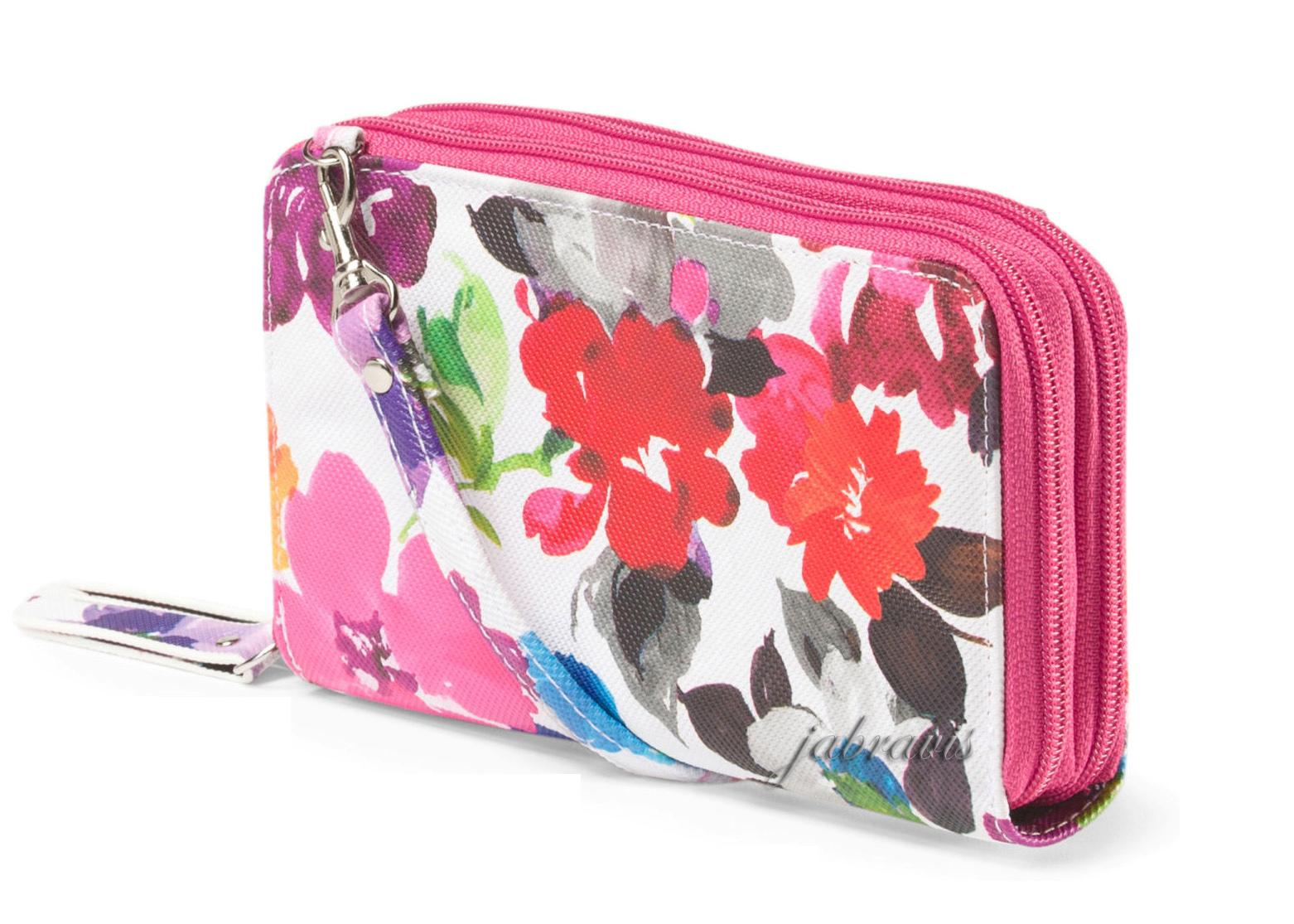 Calvin Klein Large Frame Zip Around Purse Buxton Pink Floral Print Double Zip Organizer Clutch