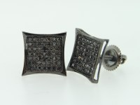 MENS 10K BLACK GOLD BLACK DIAMOND KITE EARRINGS STUDS