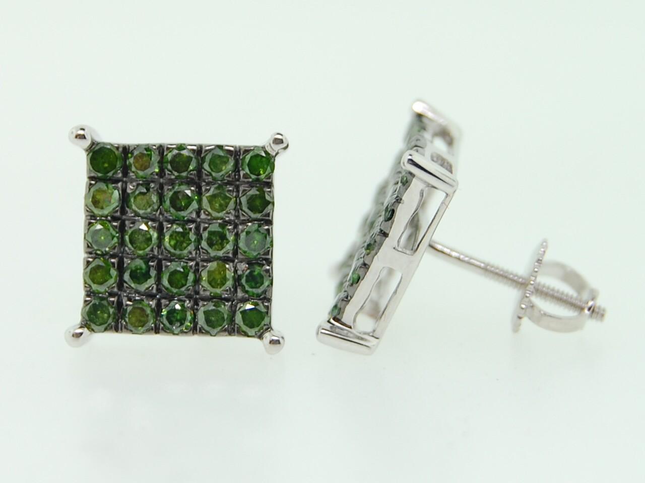 Diamond Earrings: Green Diamond Stud Earrings