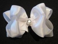 wedding hair bows white satin double layered fancy hair ...