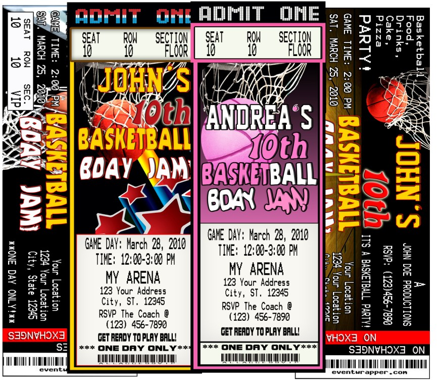BASKETBALL BIRTHDAY PARTY TICKET INVITATIONS VIP PASSES UPRINT AVAILABLE