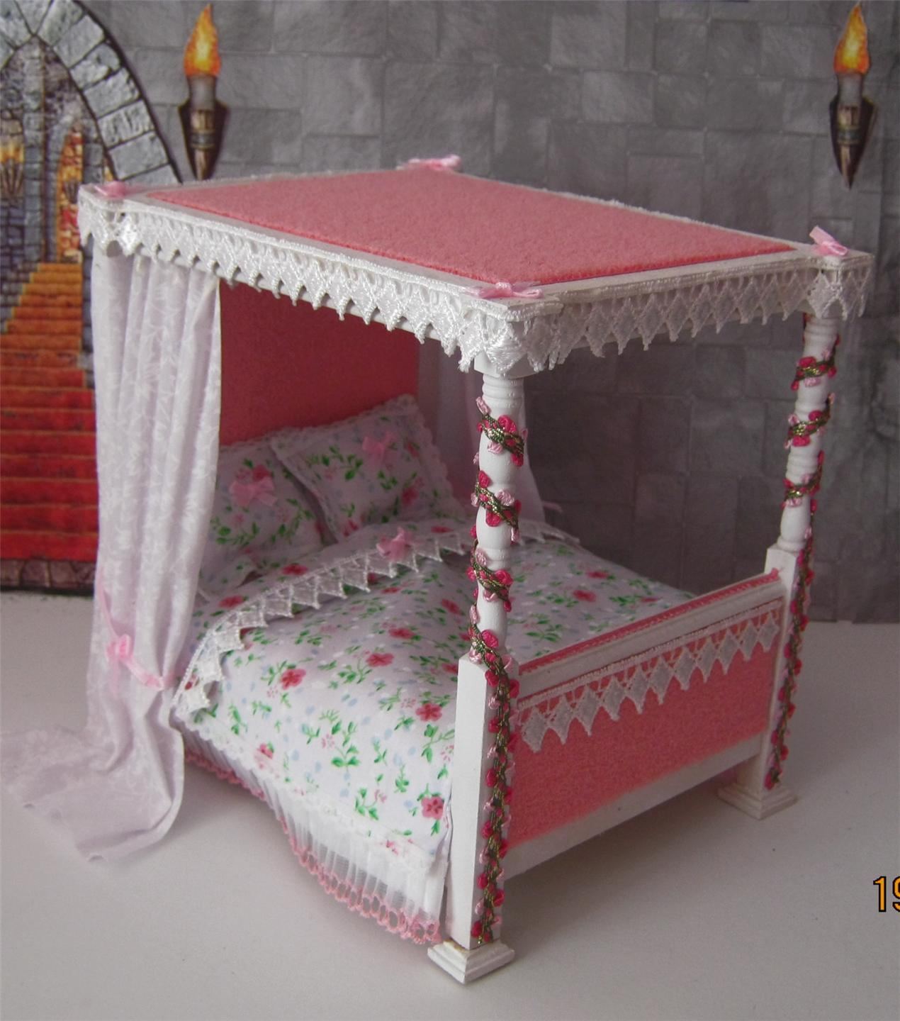 4 Poster Princess Bed Doll House Castle Fantasy Princess Fairytale 4 Poster Bed