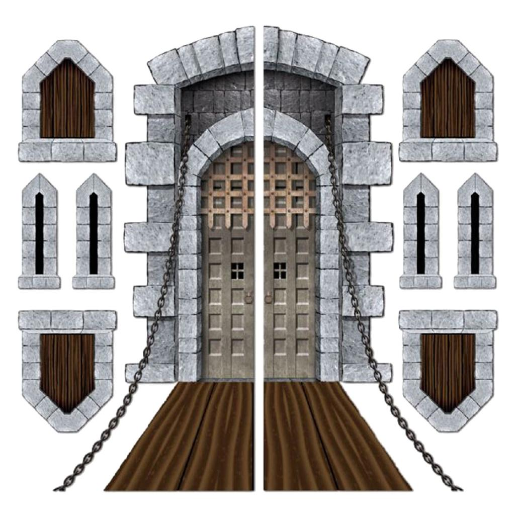 Pack of 9 Medieval Halloween Castle Door Windows Cutouts