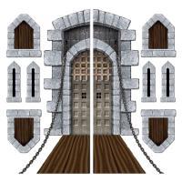 Pack of 9 Medieval Halloween Castle Door Windows Cutouts ...