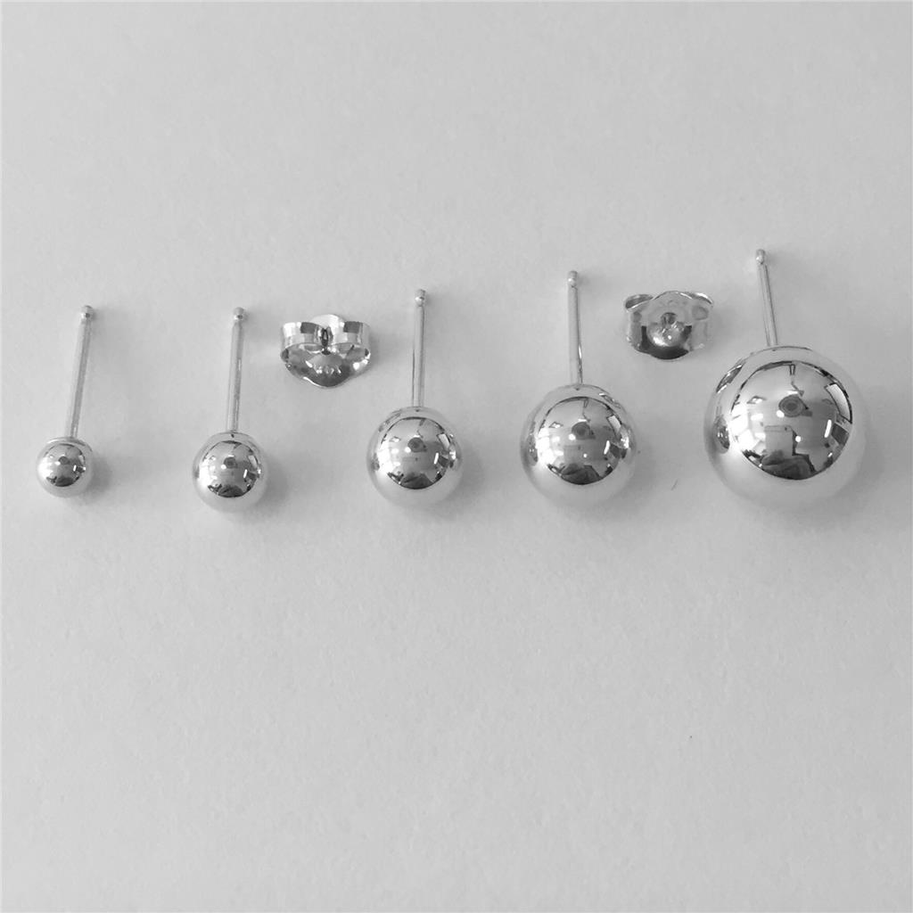 14K Solid White Gold Ball Stud Earrings Sizes 3mm 4mm 5mm