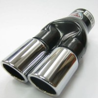 UNIVERSAL SPORT DUAL TWIN EXHAUST PIPES MUFFLER TRIM PIPE