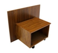 Danish Mid Century Modern Roll Top Teak Desk Cabinet w ...