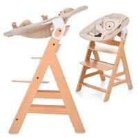 Hauck Hochstuhl Alpha Plus Holz Natur Newborn Set