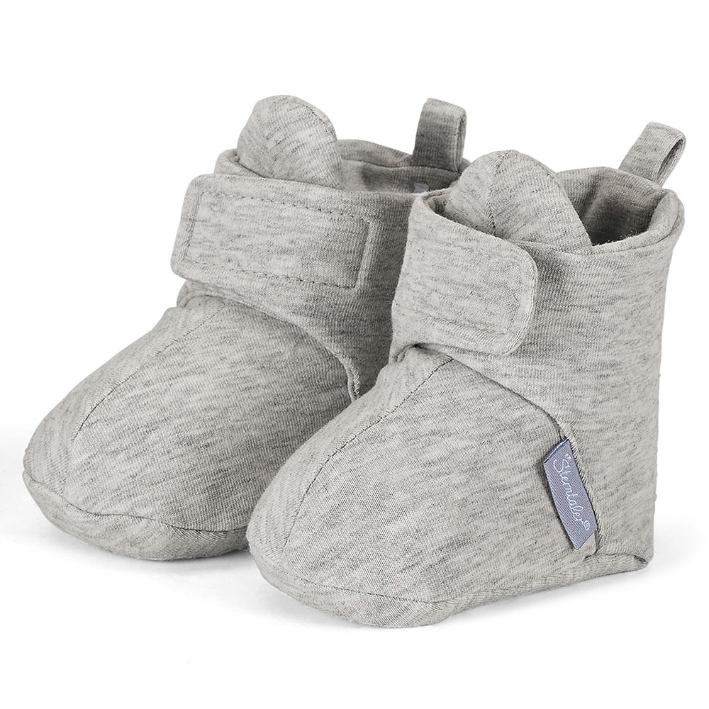 Sterntaler Baby Hausschuhe Sterntaler Jersey Shoes With Velcro Closure Light Grey Melange Gr 15 16
