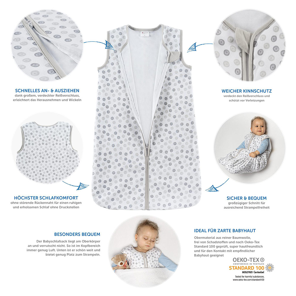 Babyschlafsack 90 Cm Coconette Summer Sleeping Bag Circle White Grey Size 90 Cm