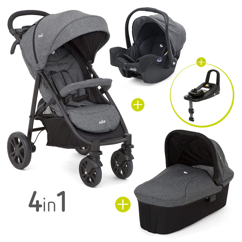 Kinderwagen Joie Joie 4 In 1 Kinderwagen Set Litetrax 4 Babywanne Babyschale Isofix I Base Regenschutz Adapter Chromium Kollektion 2019