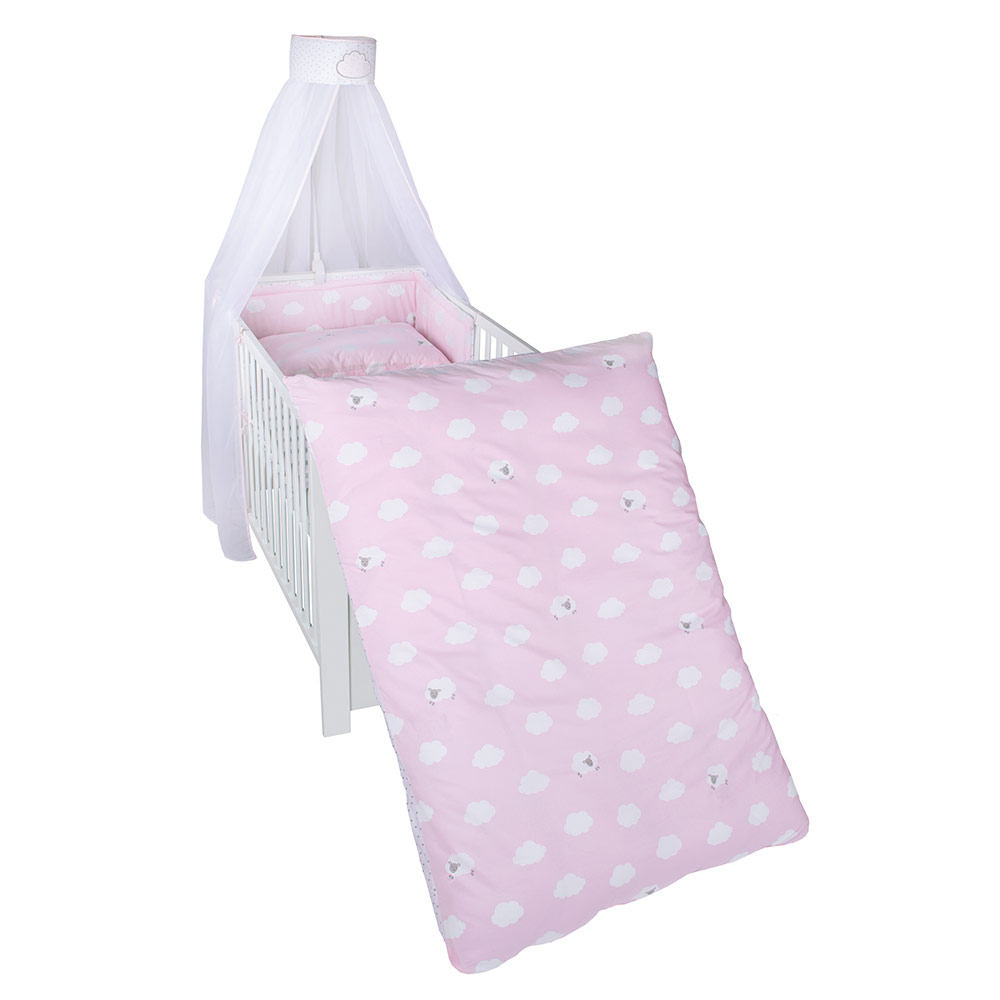 Baby Bettwäsche Set 70x140 Roba Bed Linen Set Small Cloud Pink