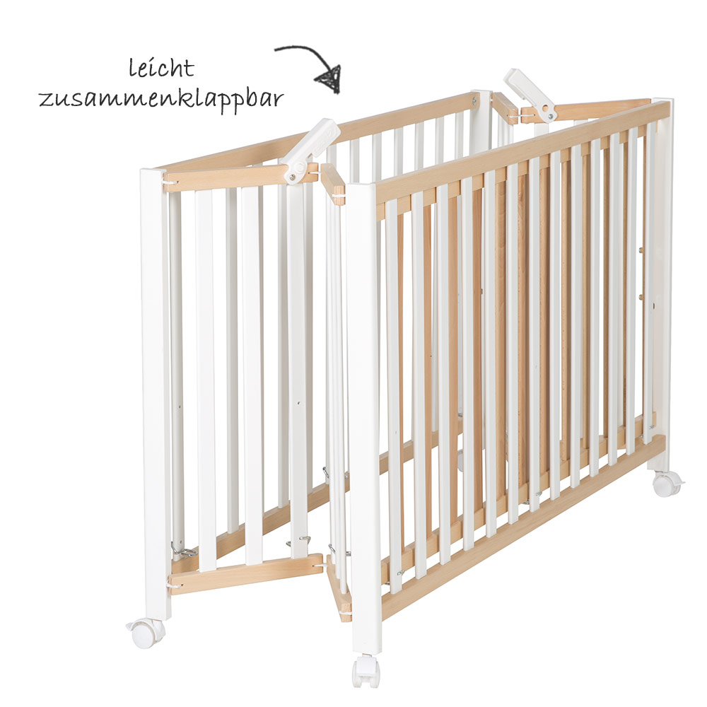 Babybett Bio Holz Weiß Roba Baby Bed Bio Beech Bicolor Fold Up Foldable 60 X 120 Cm