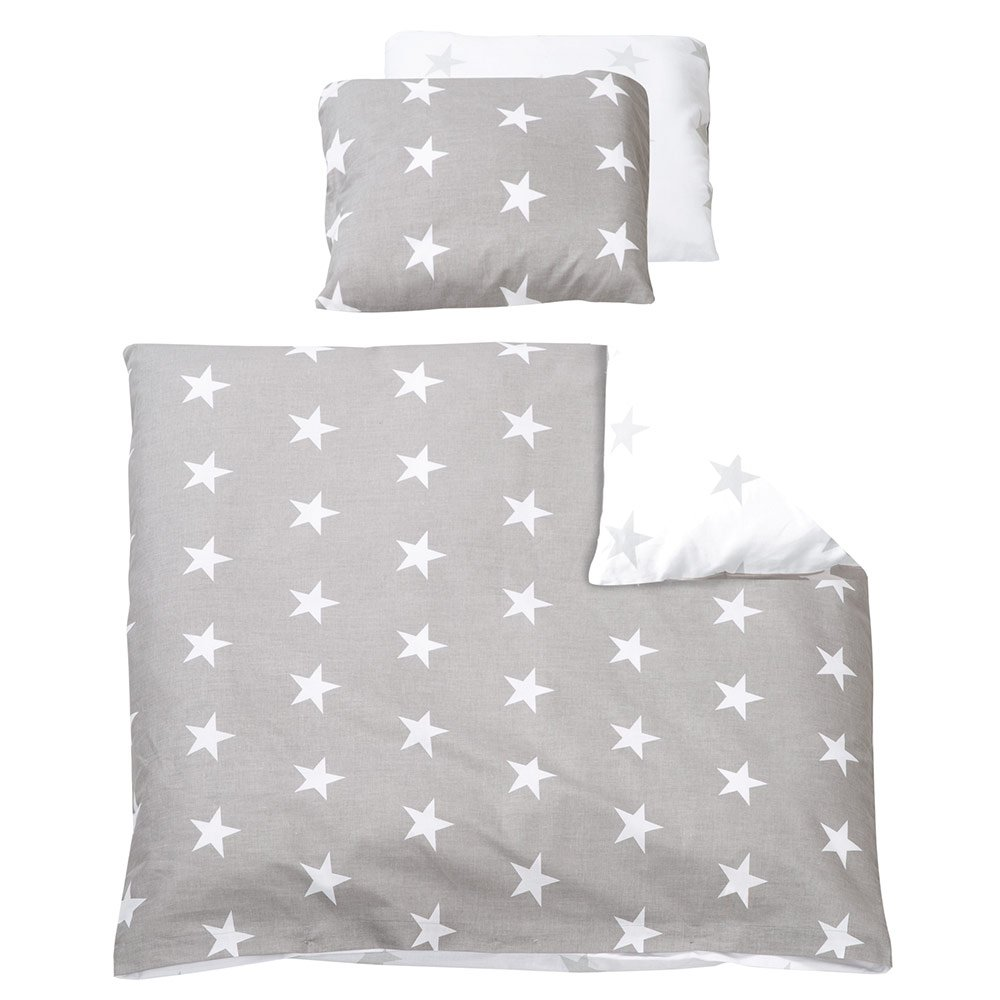 Baby Bettwäsche 80x80 35x40 Roba Reversible Bed Linen 80 X 80 Cm Little Stars Grey White