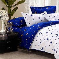 4Pcs Suit Star Moon Cotton Reactive Printed Bedding Sets ...
