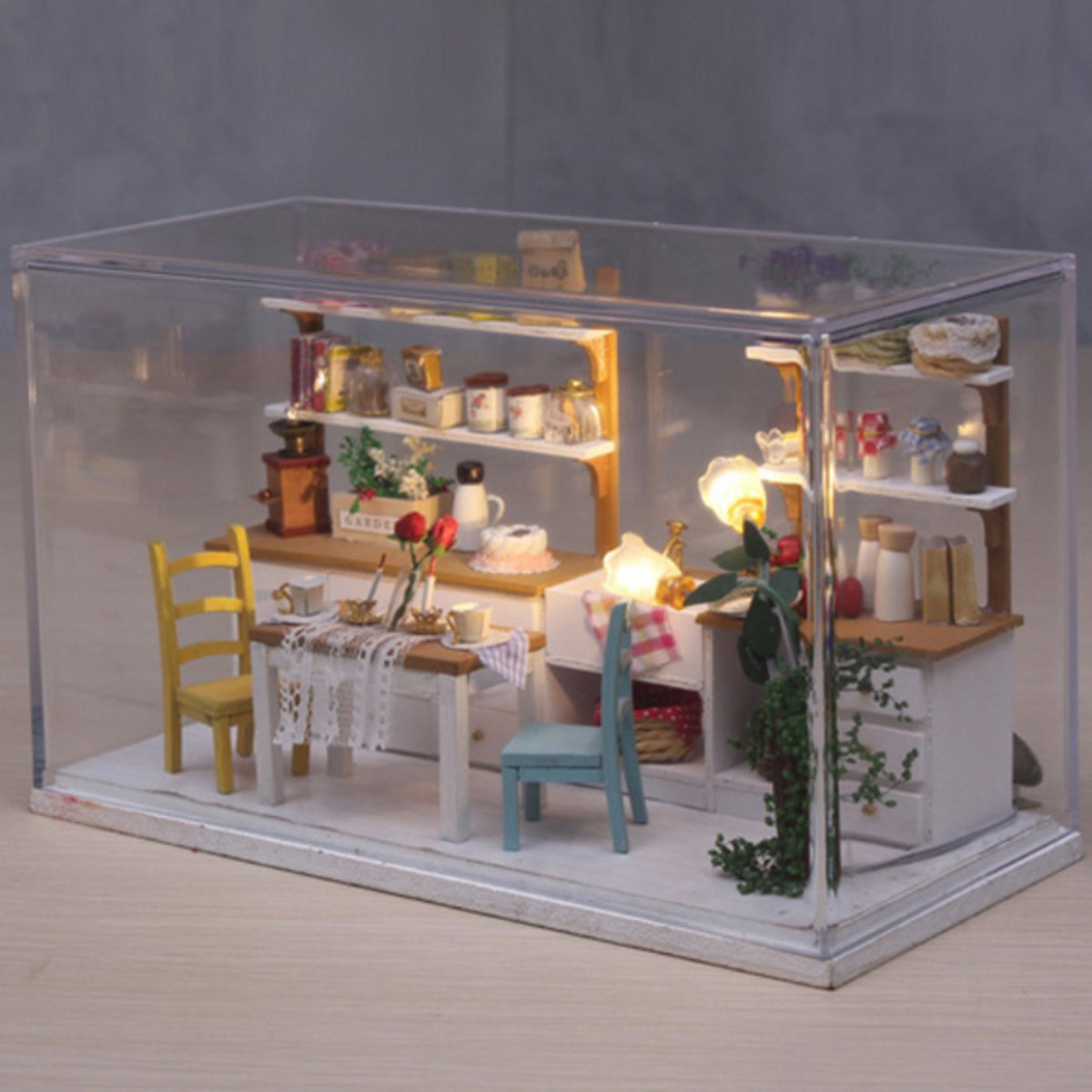 Diy Küche Led Hoomeda Diy Wooden Dollhouse Mini Küche Room Modell Kit
