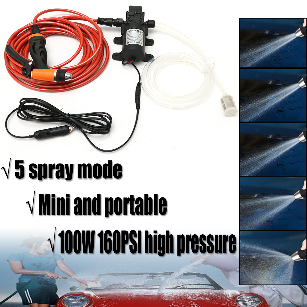 12v 100w 12v Portable 100w 160psi High Pressure Car Electric Washer