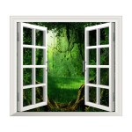 D Window Wall Stickers Forest Stream