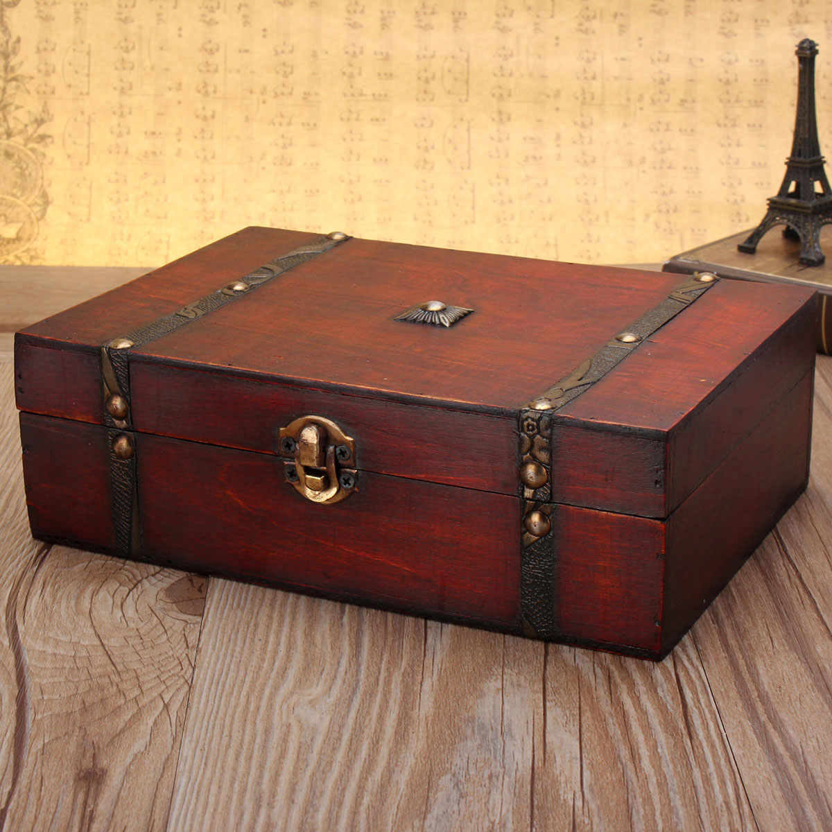 Big W Jewellery Box Large Vintage Wooden Storage Present Candy Gift Box