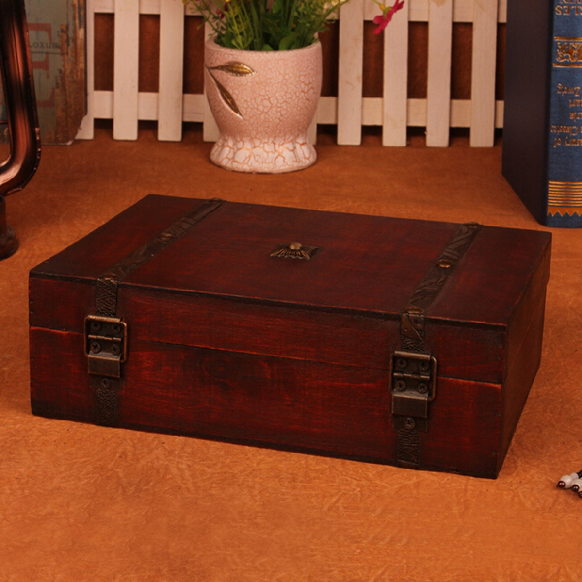 Large Vintage Wooden Storage Present Candy Gift Box