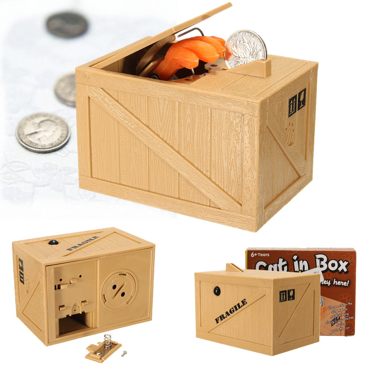 Buy Money Box Buy Creative Cute Stealing Coins Grey Kitty Cat Big Grape