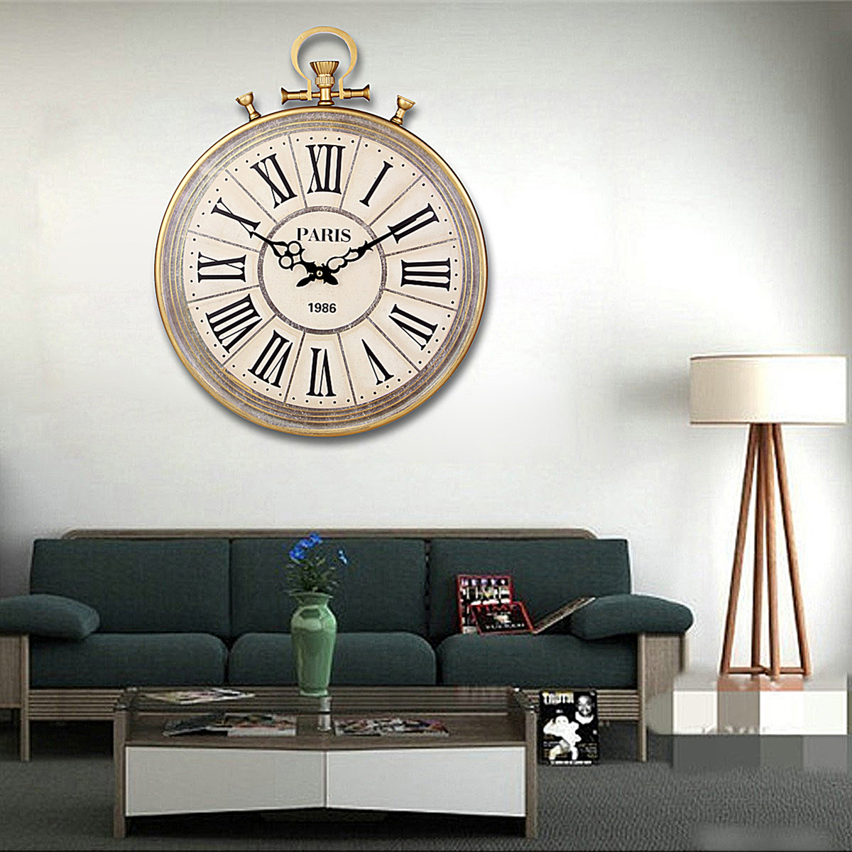 Where To Hang Wall Clock In Living Room Large Round Vintage Pocket Watch Style Roman Numerals Wall