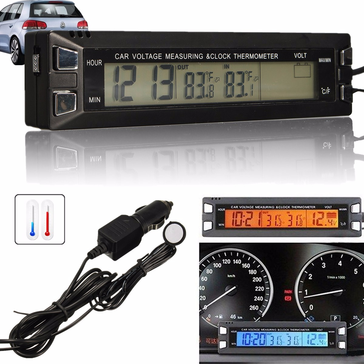 Digital Clock For Sale Buy Car Auto Lcd Digital Clock Thermometer Temperature