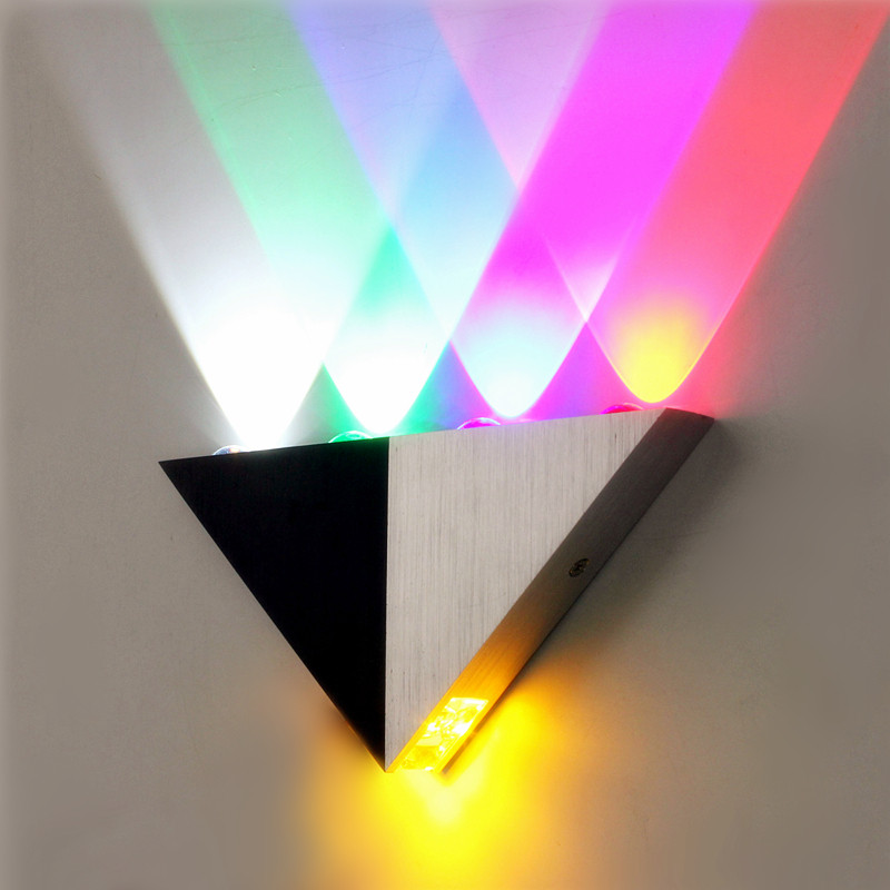 Eclairage Led Multicolore Multi-color Triangle 5w Led Wall Sconce Lamp Up & Down