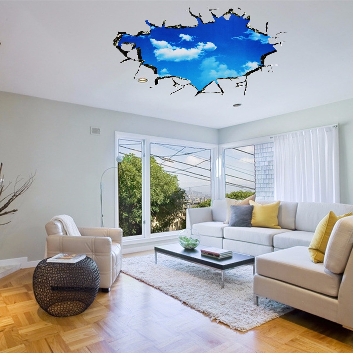 Decoration Murale Design 3d Pag Blue Sky 3d Wall Decals Sticker Ceiling Hole Sticker