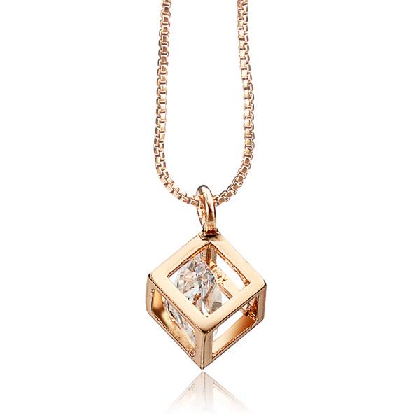 Zircon Square Pendant Necklace