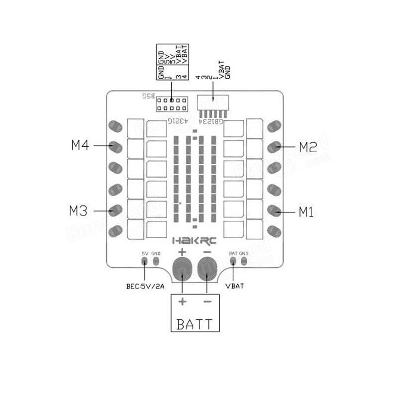 Hakrc 30A 30amp 4 In 1 ESC BLHeli_S BB2 2-6S Dshot600 Built-in 5V 2A